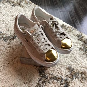 Puma suede/metallic sneakers